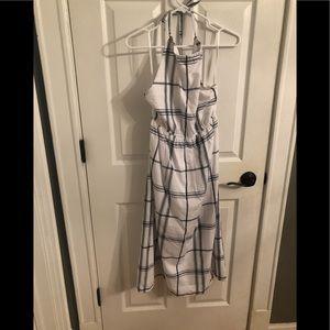 Black & White Check Pattern Halter Midi Dress